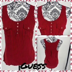 Guess red black striped Henley style tank top